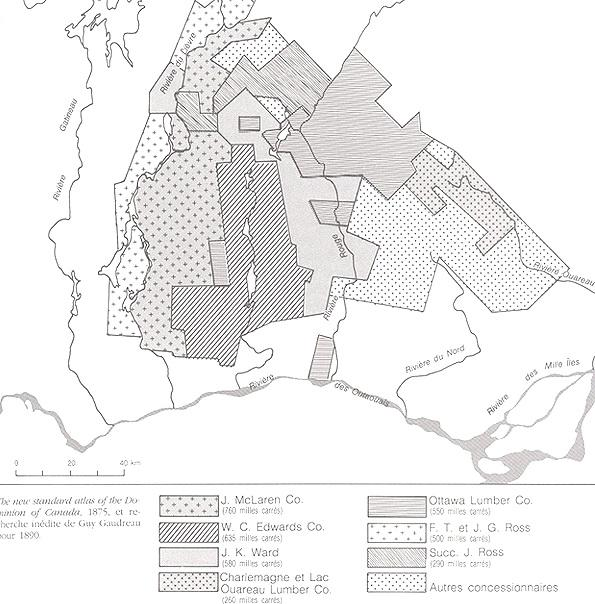 Forestry Concessions in the Laurentians and Eastern Outaouais / Concessions forestière dans les Laurentides et l'Outaouais, 1890
