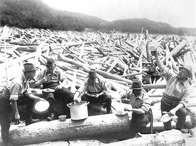 Loggers sitting for a meal, Chelsea, c.1900