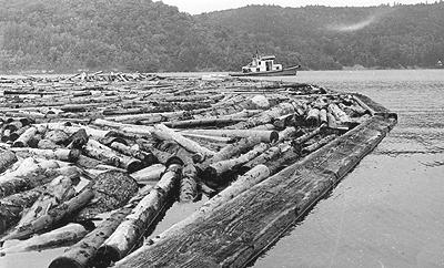 Tug boat towing log boom at Burnett, Chelsea, c.1975