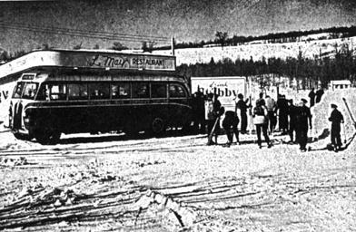 Ski bus, Camp Fortune, 1949