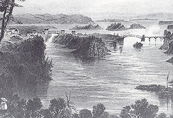 First bridge over the Chaudière Falls. Engraving by William H. Bartlett. (Source - Canadian Scenery Illustrated, by N. P. Willis, 1842)