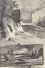 Chaudière Falls and Suspension Bridge. Engraving from Picturesque Canada, 1882. (Source - Private collection)