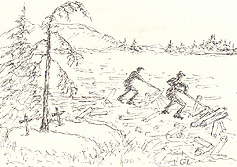 The Log Drive. Sketch by Gunda Lambton.