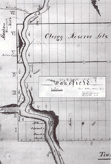 Map of a part of Wakefield Township, surveyed by A. Swalwell, c.1834. (Source - Wakefield Revisited)