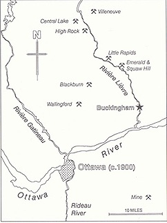 Principal mines and landmarks near Buckingham. (Drawing by Edward Hearn)