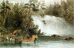 Portage des Chats. Engraving by W. H. Bartlett, 1842. (Source - Private collection)