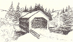 Covered bridge. (Sketch by Gunda Lambton)