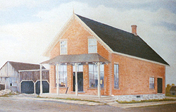 Painting of the brick store by Loyal A. Thomson.
