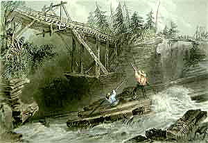 Timber Slide and Bridge on the Ottawa. Engraving by W. H. Bartlett, 1842. (Source - Private collection)