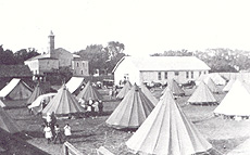 The Ottawa Militia set up tents in the fairgrounds for some of the 700 people who were left homeless as a result of the fire.