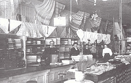 Staff behind the counter of MacLaren's General Store, c.1900. (Photo - GVHS / Wakefield Revisited)