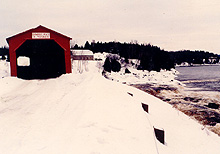Savoyard Bridge, Grand-Remous, after a snow storm, winter 1980. Note the rapids at right. (Photo - Matthew Farfan)