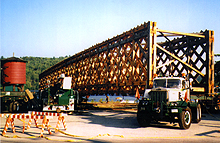 Transporting the trusses of the Wakefield bridge during reconstruction, 1996. (Photo - Neil Faulkner)
