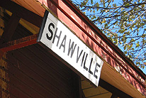 Sign, Shawville station. (Photo - Matthew Farfan)
