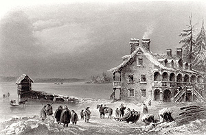 Symmes' Inn, Aylmer, 1842. Engraving by W. H. Bartlett. (Courtesy of Aylmer Heritage Association)